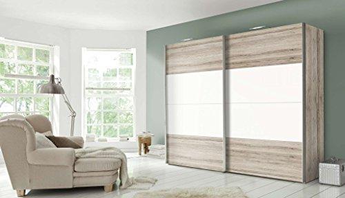 Avanti trendstore - classic - armadio con ante scorrevoli in legno truciolato di colore quercia san remo/bianco. dimensioni: 250x236x68cm