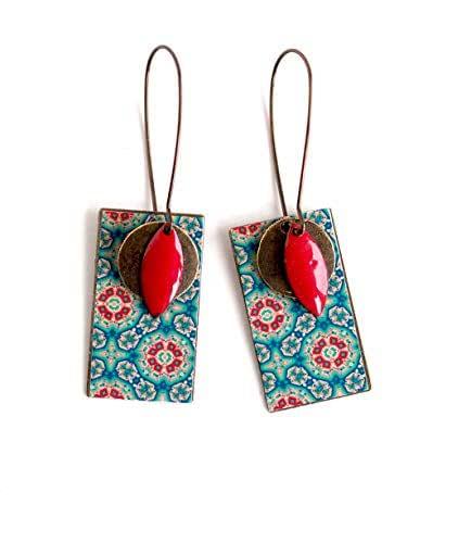 Ciondolo orecchini, spirito marocchino, blu e rosso, originale, bronzo, gioielli per donna