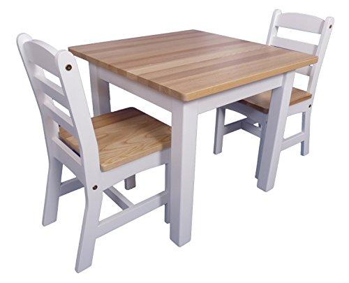 Kinder-Möbel-Set 'Landhaus' | Holztisch | 2 Holzstühle | Weiß | Klassisch aus Massivholz | Kindgerecht | Als Basteltisch für jedes Kinderzimmer