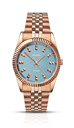 Sekonda Women's Quartz Watch with Blue Dial Analogue Display and Rose Gold Stainless Steel Bracelet 2090.27