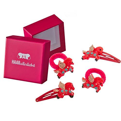 HAARallerliebst 4 Haarspangen Haargummis Haarklammern im Set mit pinken Einhörnern für Mädchen...