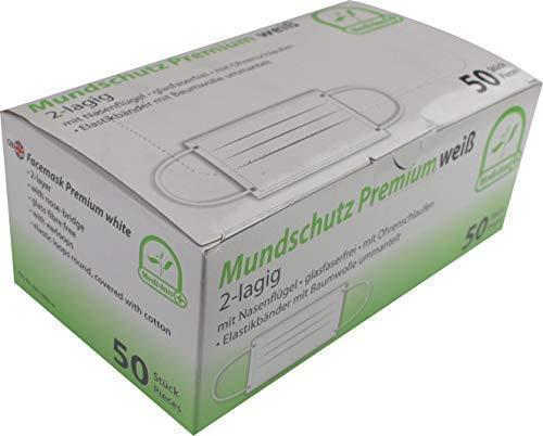 50 Stück Mundschutz OP Maske 2-lagig mit Ohrschlaufen verschiedene Farben Medi-Inn (weiß)