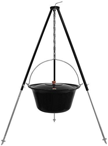 Grillplanet 15 L Gulaschkessel mit Dreibein schwarz 1,30 m und Deckel emailliert (15 Liter Topf Kesselgulasch Set)
