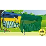 Funda cubre muebles de jardín impermeable para balancín 2 plazas. Polietileno verde.