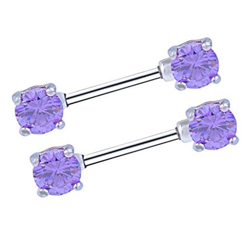 Sharplace 1 paio anello capezzolo in acciaio inox gioielli piercing con zircone - viola