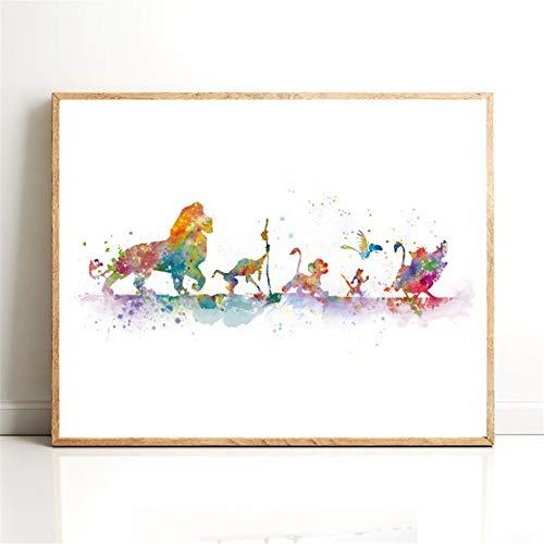 Danjiao König Der Löwen Poster Leinwanddruck Aquarell Klassische Cartoon Simba Kunst Malerei Geschenk Kindergarten Wandkunst Bild Kinderzimmer Wohnkultur Wohnzimmer 60x90cm