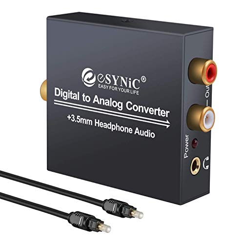 Convertitore DAC audio da digitale ad analogico, RCA l/R 3,5 mm, uscita stereo con cavo ottico, per PS3, XBOX 360, HDTV, Blu Ray, DVD, Sky HD, Apple TV