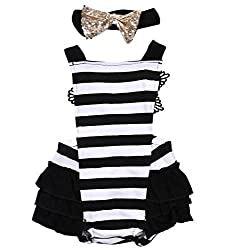 Newborn Baby Girls Lace Striped Jumpsuit Romper Playsuit + Headband Outfits (3-6M