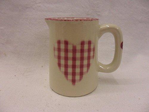 Pink Gingham Heart Mini Cream Jug By Heron Cross Pottery