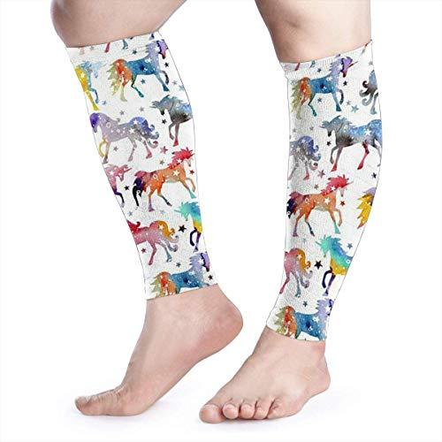Rainbow Watercolour Galaxy Calf Compression Sleeve - Leg Compression Socks for Shin Splint, Calf Pain Relief - Calf Guard for Running, Cycling, Maternity, Travel, Nurses Active Run Thermal