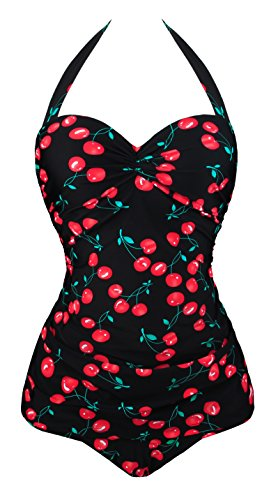 Angerella Vintage 50s Pin Up Bademode One Piece Monokinis (SST045-B1-4XL) (One Piece Vintage Swimsuit)