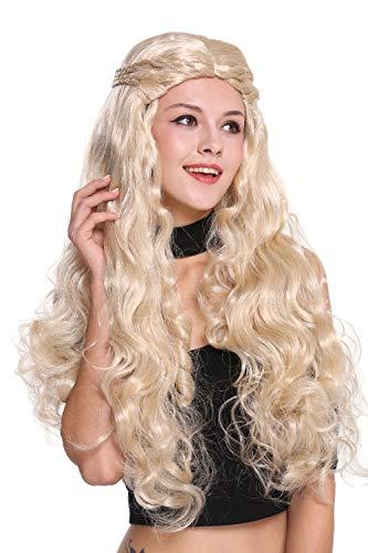 WIG ME UP - 91323-ZA83 Perücke Damen sehr lang wellig hellblond aufwendig geflochten Mittelscheitel Romantik Märchen Prinzessin Hippie