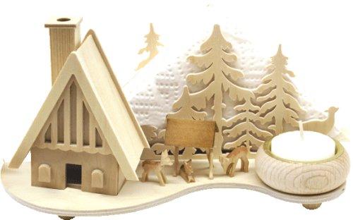 Holz Bastelset 3-D - Serviettenhalter Wald mit Haus - komplett ausgesägt natur / zum selber basteln - Echt Erzgebirge - hergestellt in Deutschland - Deko für Weihnachten / Kinder + Erwachsene - Komplettset