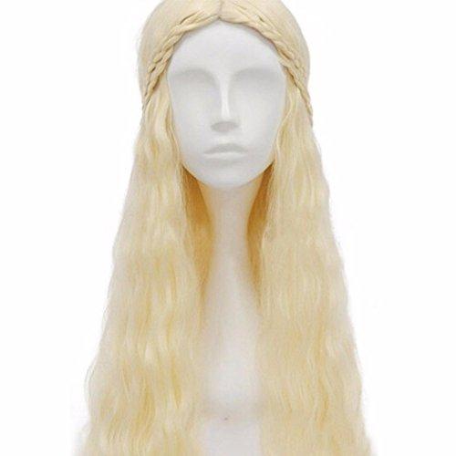 ESAILQ Khaleesi Daenerys Targaryen Silver White Party Cosplay Hair Full Perruques Long ondulé Curly Anime Fluffy Cool Wig (Blanc)