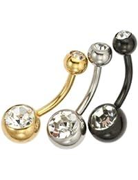 Bijoux pour tous B69BELLYSET6 - Piercing para ombligo de acero inoxidable con cristal