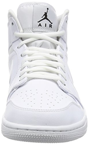 Nike Air Jordan 1 Mid, Baskets Basses Homme Blanc (White/Black-White)