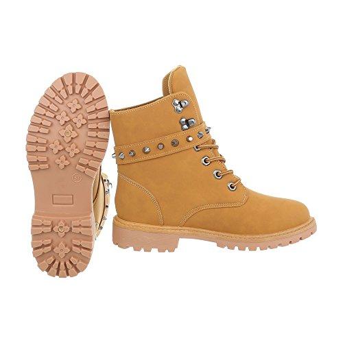 Schnürstiefeletten Damenschuhe Schnürstiefeletten Blockabsatz Schnürer Schnürsenkel Ital-Design Stiefeletten Camel