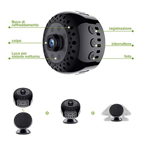 Mini Microcamere Spia,Kincam HD1080P Spia Videocamera nascosta Microcamera Videocamera Interno telecamera di sorveglianza con Visione notturna/Rilevamento del movimento di Interno Per Iphone Android - 6