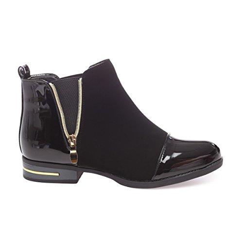 La Modeuse - Boots bi-matière en smilicuiravec empiècements vernis au niveau du talon et du bout arrondi Noir