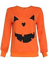 Bluestercool Mujeres Halloween calabaza impresión manga larga sudadera Pullover Tops camisa blusa