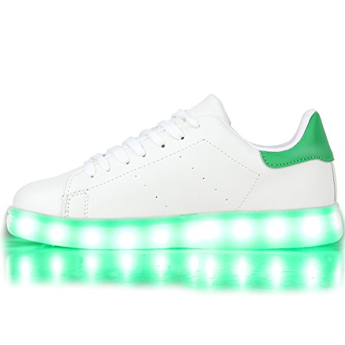 Sofort lieferbar aus DE - Leuchtende und Blinkende Damen Herren Kinder Mädchen Jungen Sneakers High und Low Led Light Farbwechsel Schuhe LED Licht Weiss Grün LEDs