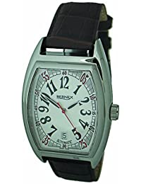 Bernex Swiss Made Gents Automatic Stainless Steel, Cream dial, Sapphire glass, brown leather strap Wrist Watch