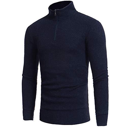 Uomo camicette maniche lunghe, rcool pullover a maglia dolcevita autunno invernale warm maglione felpa con cerniera casuale top nero,