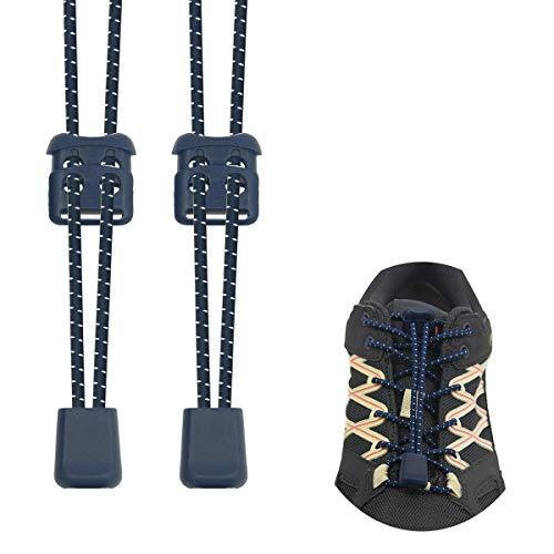 Riemot Elastische Schnürsenkel mit Schnellverschluss – Schnellschnürsystem für Schuhe Ohne Binden – Kinder & Erwachsene Marine Blau
