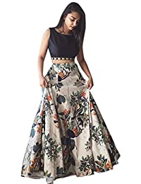 Fashionable village Women's Cotton Silk Lehenga Choli With Blouse Piece_Black white floral_Free Size