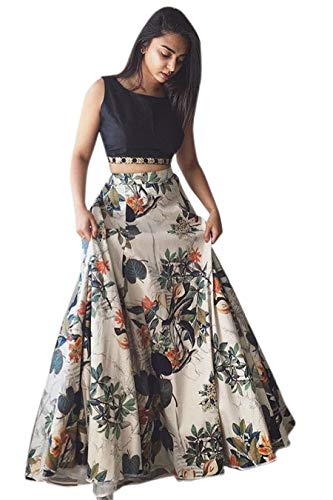 Fashionable village Women\'s Cotton Silk Lehenga Choli With Blouse Piece_Black white floral_Free Size
