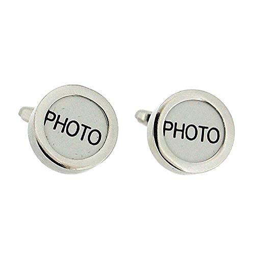 Artamis Boutons de Manchette Photo Frame Ronds en Métal Argenté avec Boîte de Présentation