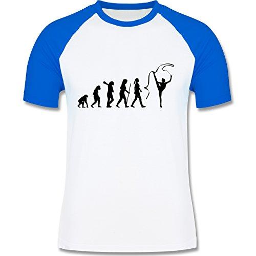 Evolution - Rhythmische Sportgymnastik Evolution - zweifarbiges Baseballshirt für Männer Weiß/Royalblau