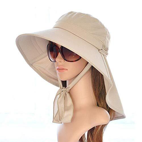 SCJ Sonnenhüte Sonnenhüte - für Frauen Angeln Wandern Cap mit Neck Flap Wide Brim Cap (Farbe: Khaki, Größe: 54-60cm) Wind Flap
