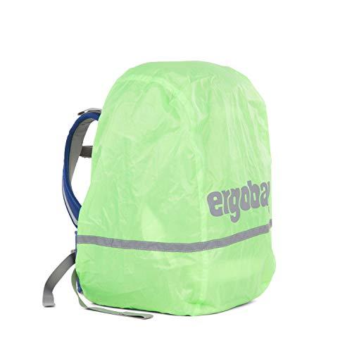 Ergobag Regencape für Schulrucksäcke, wasserdicht, Leuchtfarben, Reflektoren, Gummizug, Grün