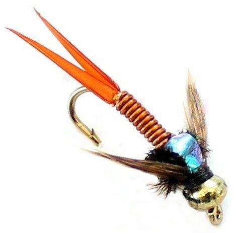 6x Pesca alla trota Oro Fiore, ninfe 33J X 6X rame Johns Hook Size 12 - Pesca A Mosca Indicatori Sciopero