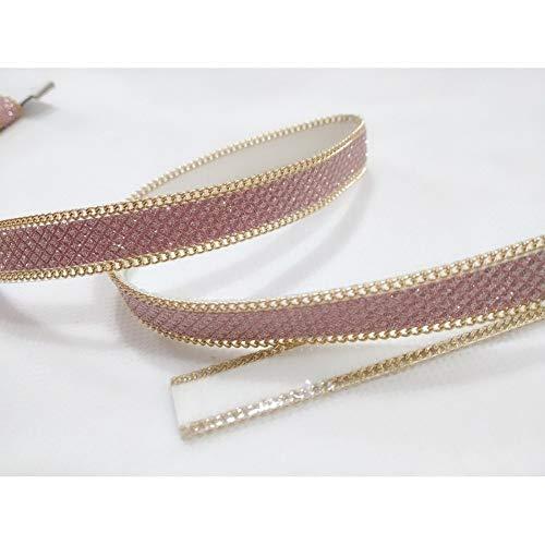 Tomaselli merceria 50 cm passamaneria rosa micro strass lurex gioiello catenella oro termoadesiva alta 15 mm