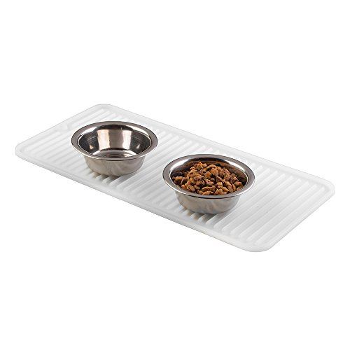 mDesign Feeding Mat - Silicone Pet Bowl Mat for Dogs, Cats and other Animals - Animal Placemats - Transparent