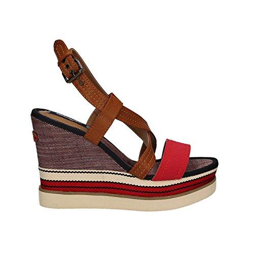 Wrangler WL171664 Sandal Damen Leder Synthetikleder Rot Rot 36 (Leder Wrangler)