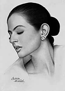 Amisha Patel Pencil - Drawing UNFRAMED PRINT ON PAPER Size: 8X12 Inch - Price: 149 INR