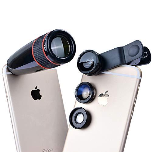 (Monokular Teleskop 3in1 Handy Objektiv Kit Weitwinkel Makro 12X Teleskop Objektiv für iPhone Xiaomi Samsung Huawei und die meisten Smartphones)