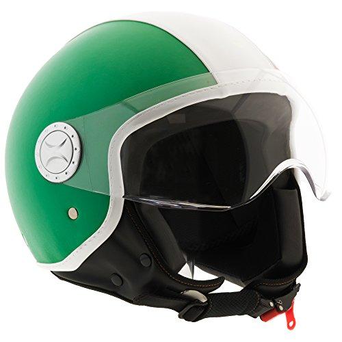 Casco moto demi jet in pelle custom scooter omologato ece r22-05 visiera sole sferica antigraffio (m, rosso)