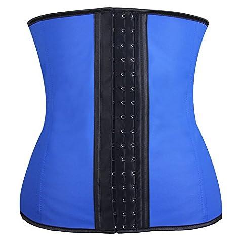 Corset Serre Taille Minceur Femme Bustier bleu Latex Ventre Ceinture,Taille XXXL
