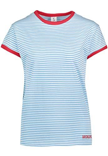 Sublevel Gestreiftes Colorblock Damen T-Shirt mit Stickerei Light-Blue M