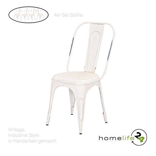 Metallstuhl Vintage Shabby Chic 4er Set Design Stuhl Retro Bistrostühle für Ihre vintage...