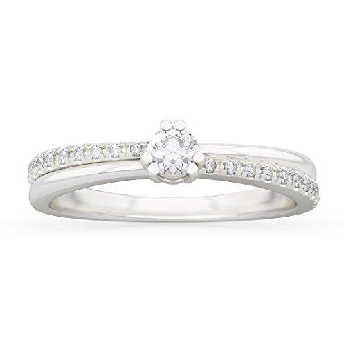 Anello solitario donna amina in oro bianco 18kt e palladio con diamanti