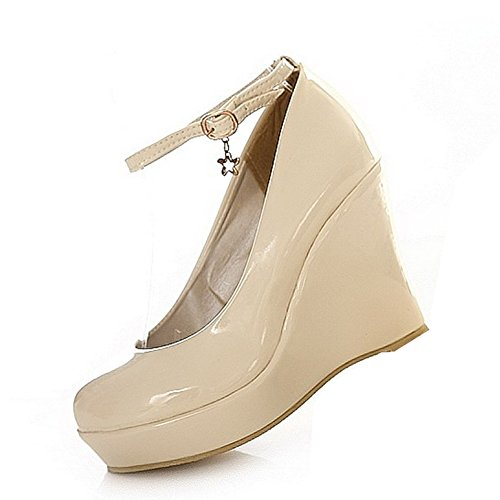 balamasa Femme Talons Hauts avec boucle solide Pompes Chaussures Beige