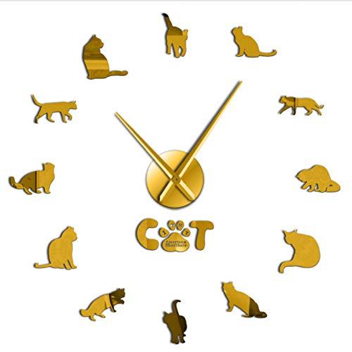 MDKAZ DIY Acryl Wanduhr Kurzhaar Katze DIY Wanduhr Spiegeleffekt Katzenuhr Kits Zahlen Mit Großer Nadel Katze Haustier Rasse Wanddekor Uhr Gold 47inch - Uhr-kits Mit Zahlen