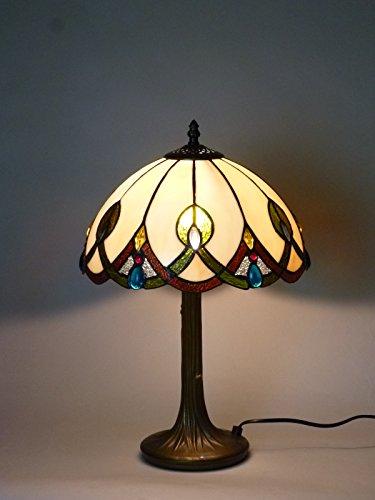 Antike Tiffany-tisch-lampe (Hochwertige Echtglas Tiffany Tischleuchte Chantal groß Lampe im Tiffany Stil Leuchte)