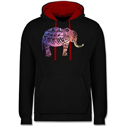 Boheme Look - Elefant Namaste - Kontrast Hoodie Schwarz/Rot