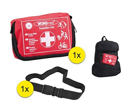Erste Hilfe Survival Kit Verbandkasten Set für Wandern, Reißen, Erstversorgung mit 1x Schnellverschluss Sicherungsband